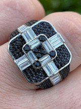 Large Real Solid 925 Sterling Silver Men's Baguette Black Diamond Ring Hip Hop