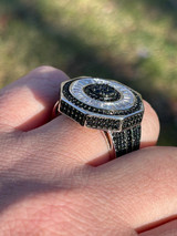 Large Solid Real 925 Sterling Silver Black Diamond Baguette Pinky Ring Hip Hop