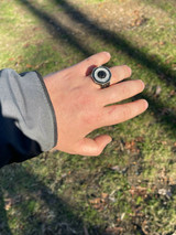 Solid Real 925 Sterling Silver & 14k Gold Iced Black Diamond Baguette Pinky Ring