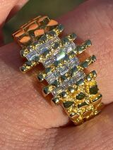 Mens REAL 925 Sterling Silver & 14k Gold  Nugget Ring Baguette Iced Hip Hop Ring