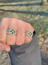 Men's Solid 925 Sterling Silver W. 14k Gold Solitaire Diamond Cut Iced Star Ring