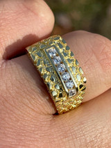 Men's 14k Gold Over Real Solid Sterling Silver Iced Diamond Nugget Ring Hip Hop