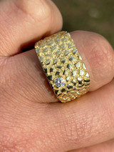 Men's 14k Gold Over Real Solid Sterling Silver Nugget Ring Solitaire CZ Hip Hop