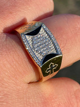 Mens Bling Gold Vermeil Over Solid 925 Silver Two Tone Cross Iced CZ Ring Drip