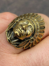 Mens Real 14K Gold Over Solid 925 Sterling Silver Large Indian Head Chief Ring