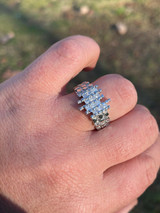 Mens REAL 925 Sterling Silver Nugget Ring Baguette Iced Drip Diamonds Pinky Ring