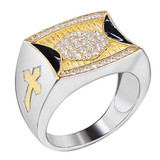 Mens Bling Solid 925 Sterling Silver & 14k Gold Two Tone Cross Iced CZ Ring Drip