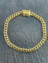 """6mm Men's Cuban Miami Link Bracelet Real 18k Gold Plated Stainless Steel 8"""" Long"""