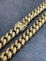 Men's Miami Cuban Link Chain Real 18k Gold Over Stainless Hip Hop Necklace 14mm