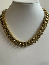 Miami Cuban Link Choker Chain Real 14k Gold Over Stainless Steel 18mm Men Ladies