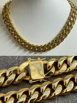 """Miami Cuban Link Choker Chain Real 18k Gold Over Stainless Steel Hip Hop 18"""" 20"""""""