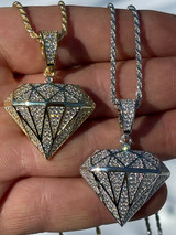 Real 925 Sterling Silver Iced Diamond Shape BLING Pendant Mens Ladies Hip Hop