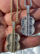 Real 925 Sterling Silver Iced Dollar Sign Pendant Baguette Diamond Chain Hip Hop