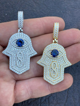 Real 925 Sterling Silver Evil Eye Hamsa Hand Pendant Iced Diamond Necklace Gold