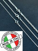 Real Solid 925 Sterling Silver Anchor Cable Chain Rolo Necklace 1mm - 3mm ITALY