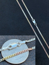 Tri Color Yellow Rose Gold & 925 Sterling Silver Miami Cuban Chain Necklace 2mm