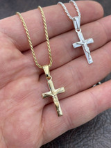 Mens Ladies Real 925 Silver Plain Gold Cross Crucifix Pendant Necklace Small 1""