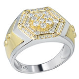 Mens Real Solid 925 Sterling Silver & 14k Gold Diamond RING Sz 6-13 ICED Hip Hop
