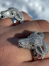 Real Solid 925 Sterling Silver Custom GOAT Ring Diamond Iced Animal HipHop Pinky