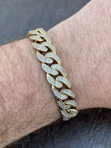 Mens Real Miami Cuban Bracelet Yellow Gold Over Stainless Steel 12mm Iced HipHop