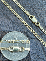 14k Gold Over Solid 925 Sterling Silver Figaro Chain Necklace Mens Ladies 2.5mm