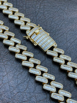 Mens Miami Cuban Link Chain Baguette Iced Diamond 14k Gold Over Stainless Steel