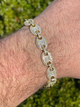 14k Gold Real 925 Sterling Silver Mens Iced Puffed Gucci Link Bracelet Diamond