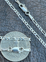 """Solid 925 Sterling Silver Figaro Chain Necklace Mens Ladies 2.5mm ITALY 16-30"""""""