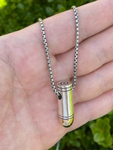 Men's Real 925 Sterling Silver & 14k Gold Bullet Pendant Necklace Chain 9mm Gun