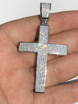 Real 925 Silver Large Iced Cross Pendant 2.5CT MOISSANITE Passes Diamond Tester