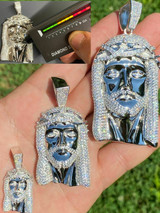 Real 925 Sterling Silver MOISSANITE Jesus Piece Iced Pendant Pass Diamond Tester
