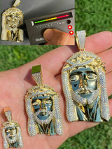 Jesus Piece Pendant Iced Necklace MOISSANITE Pass Diamond Tester! Gold Over 925