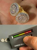 Real 925 Silver Iced Moissanite Hip Hop Men's Earrings Big Studs 14k Gold Finish