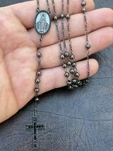 Rosary Beads Necklace Real Solid 925 Silver Oxidized Rosario Black Diamond Iced