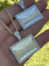 Real Solid 925 Silver & Gold Iced Men's Jesus Last Supper Pendant Italy Necklace