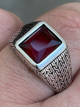 Mens Plain Real 925 Sterling Silver Ruby Red Stone Ring Size 7 8 9 10 11 12 13
