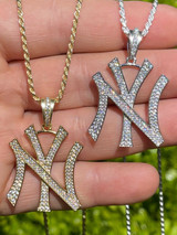Hip Hop New York Pendant - Iced Diamond Real 925 Silver Gold Necklace