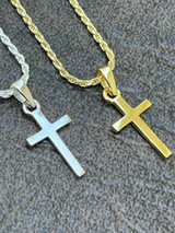 """Tiny Ladies 0.5"""" Plain Cross Pendant Solid 925 Sterling Silver 14k Gold Necklace"""