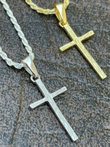 """Small 0.75"""" Plain Cross Pendant Solid 925 Sterling Silver / 14k Gold Necklace"""