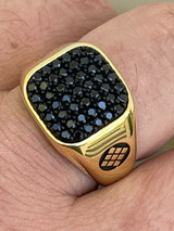 Mens Real Solid 925 Sterling Silver & 14k Gold Ring Iced Black Diamond Size 7-13