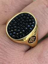 Large Mens Real 925 Sterling Silver & 14k Gold Iced Black Diamond Ring Size 7-13