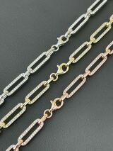 Solid 925 Sterling Silver Gold Diamond Paperclip Chain 5mm Necklace Or Bracelet