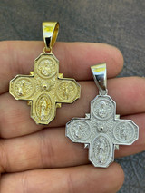 Real 925 Silver Gold Four 4 Way Catholic Cross Pendant Men's Miraculous Necklace