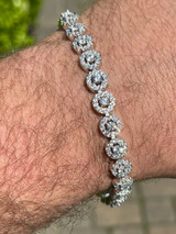 """Solid 925  Sterling Silver Tennis Bracelet Real Iced Flooded Out Diamond 7-8.5"""""""