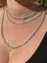 """Ladies Solid 925 Sterling Silver Paperclip Chain Iced CZ 14"""" 16"""" 18"""" 20"""" 22"""" 24"""""""