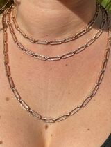 """Ladies 14k Rose Gold Over Solid 925 Sterling Silver Paperclip Chain CZ 14"""" - 24"""""""