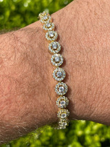 """14k Gold & Solid 925 Silver Tennis Bracelet Real Iced Flooded Out Diamond 7-8.5"""""""