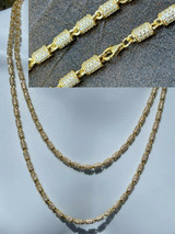 Mens Barrel Chain 14k Gold & Solid 925 Silver Iced Flooded Out Hip Hop Necklace
