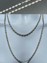 Men Barrel Chain Real Solid 925 Silver Iced Flooded Out Diamond Hip Hop Necklace