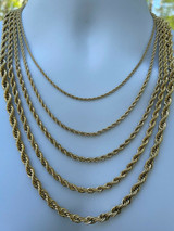 """Men's Real Rope Chain Necklace 14k Gold Over Stainless Steel - 2mm-6mm 18-30"""""""